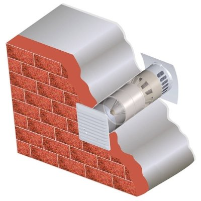 Стіновий клапан в установленому вигляді