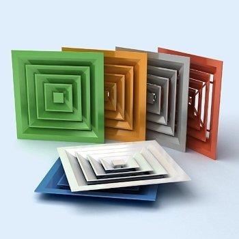 Декоративные вентиляционные решетки в различных цветовых исполнениях