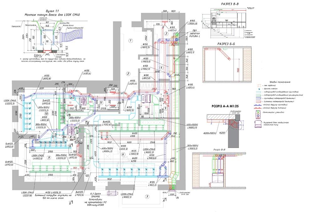 Креслення припливно-витяжної вентиляції будинку на підставі розрахунку за кількістю мешканців