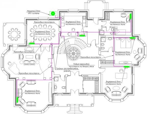 Приклад проєктування VRV-системи кондиціонування на 1 поверсі будинку