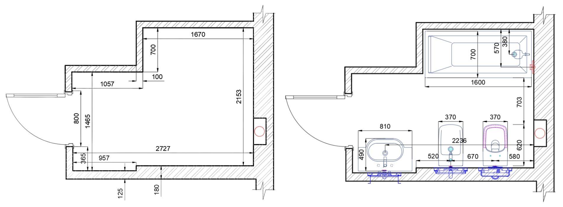 План ванной комнаты с размещением сантехники