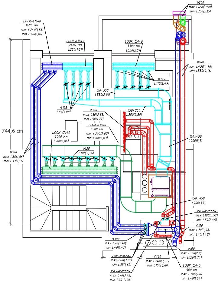Чертеж приточно-вытяжной вентиляции дома на основании расчета по количеству жильцов