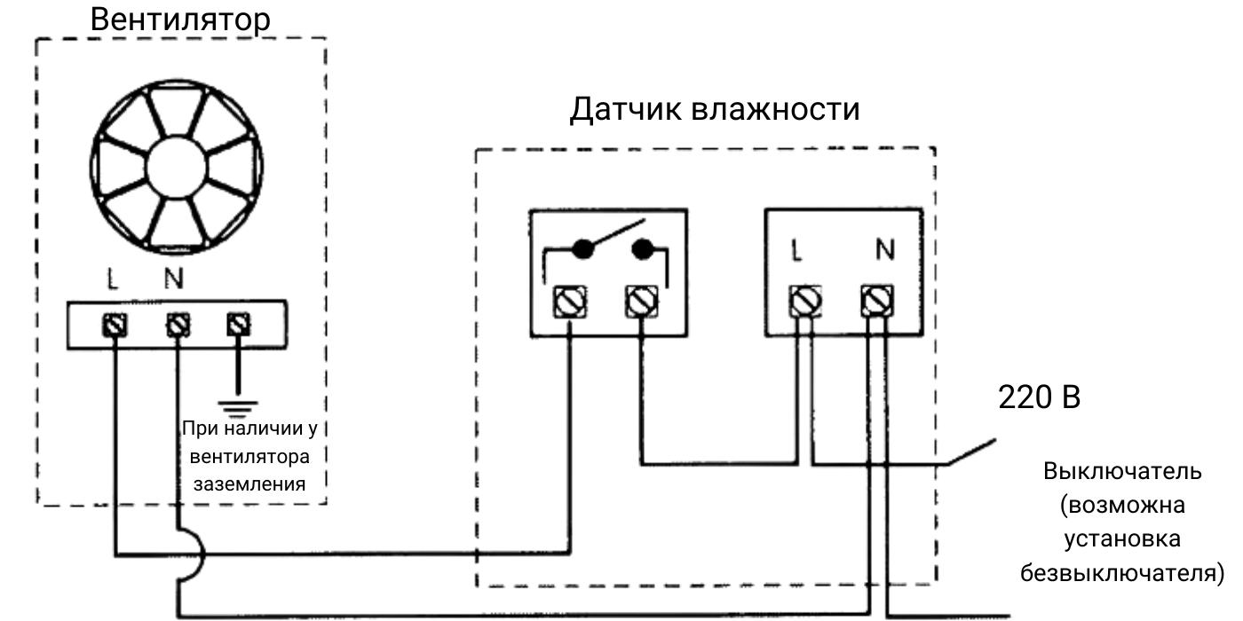 Схема подключения комнатного гигростата