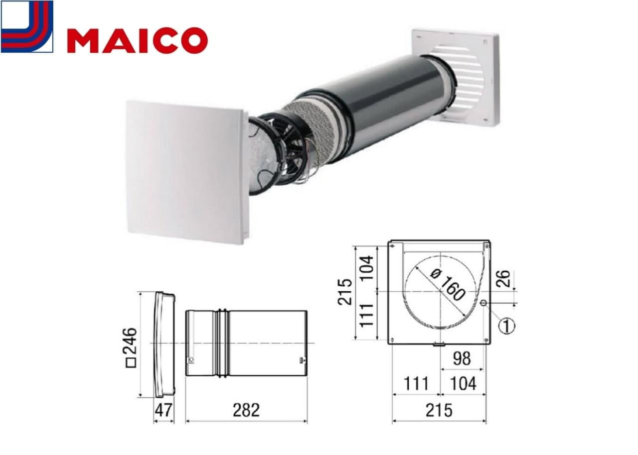 Припливно-витяжна установка Maico PushPull і його креслення