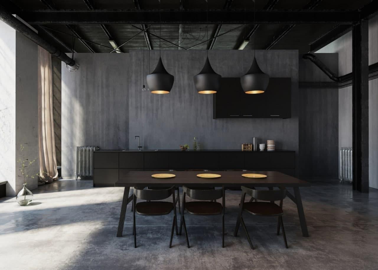 Кухня-столовая в стиле лофт с осуществленной вентиляцией