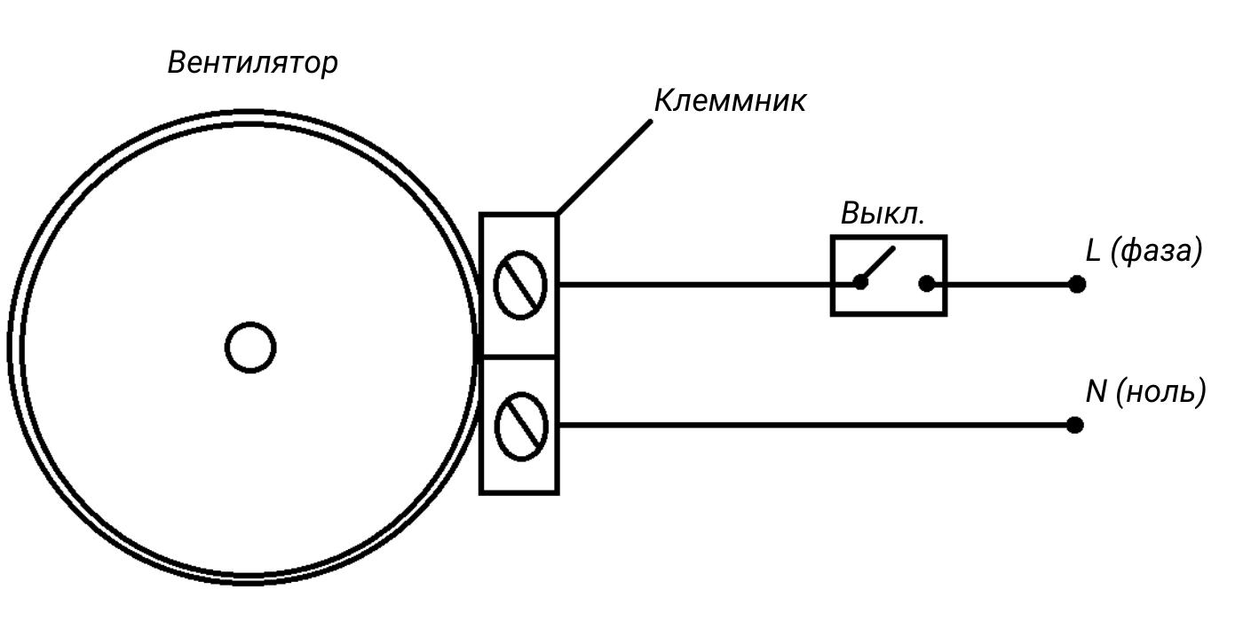Подключение вентилятора через выключатель