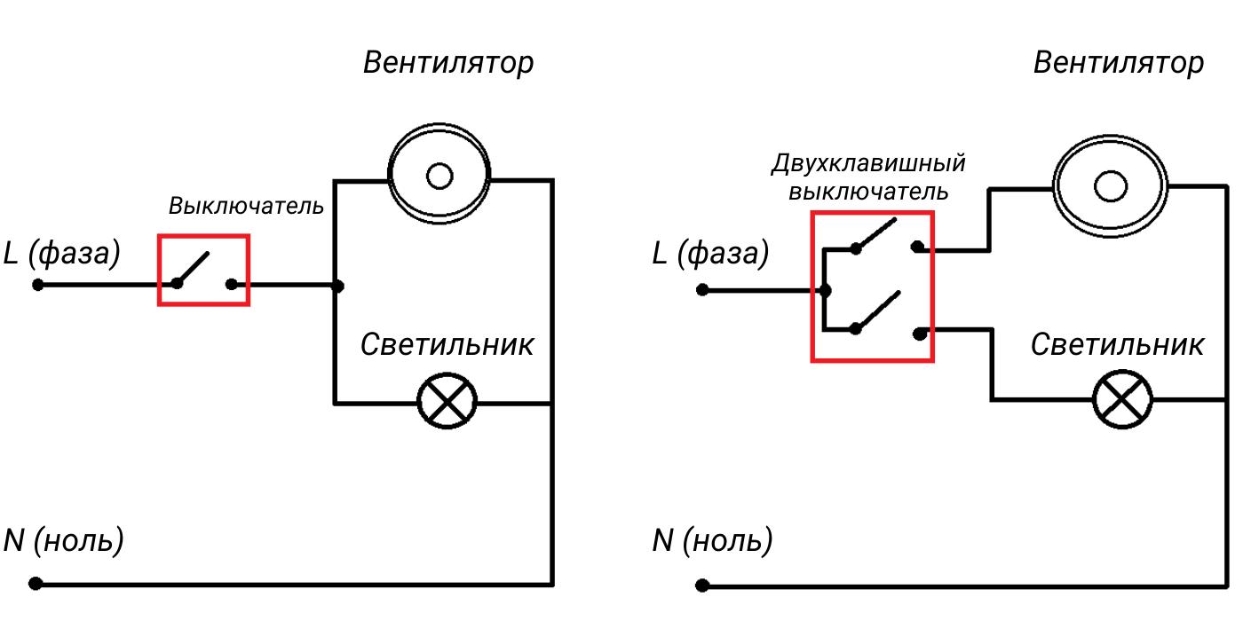 Подключение вентилятора совместно с освещением
