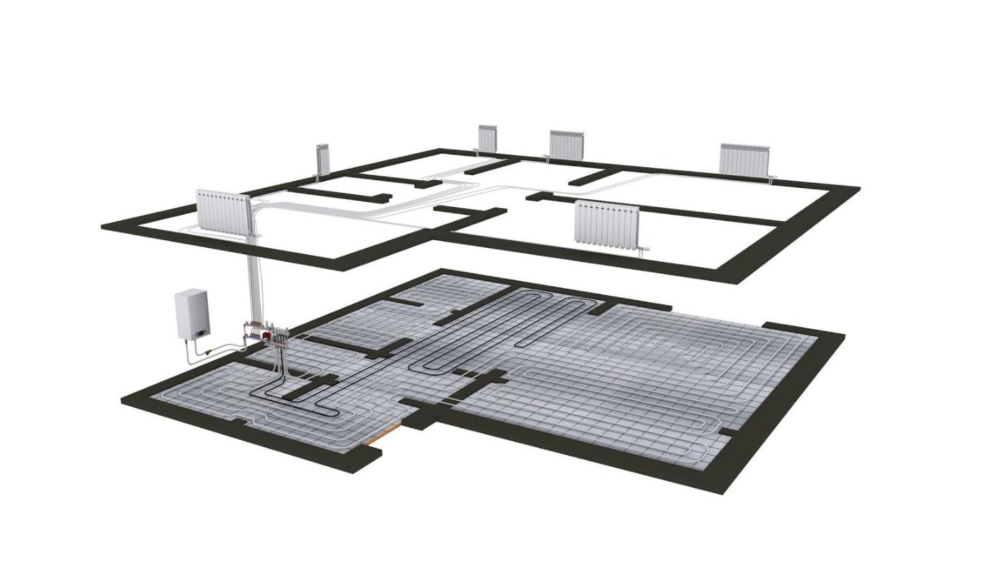 Схема розміщення теплої підлоги і радіаторів