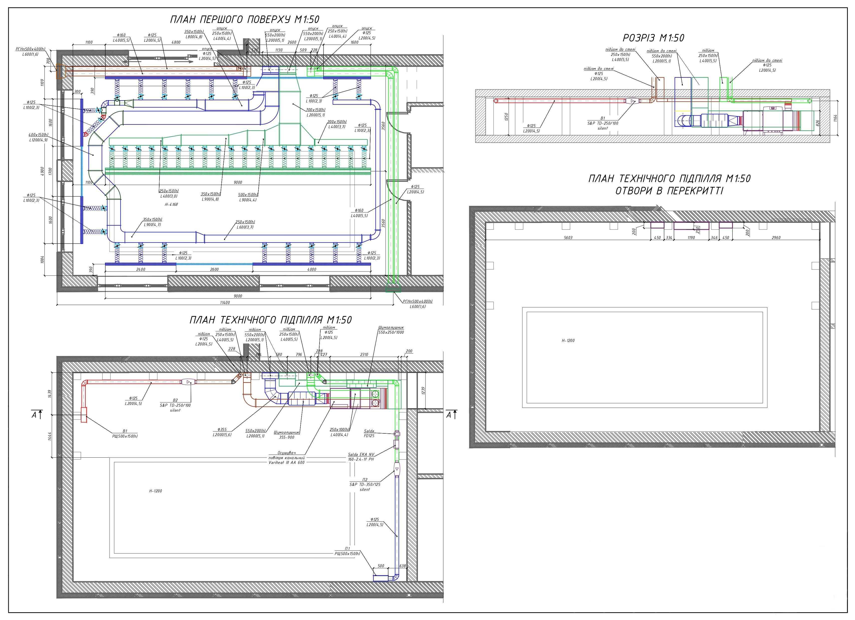 Система вентиляции и осушения в бассейне на чертеже
