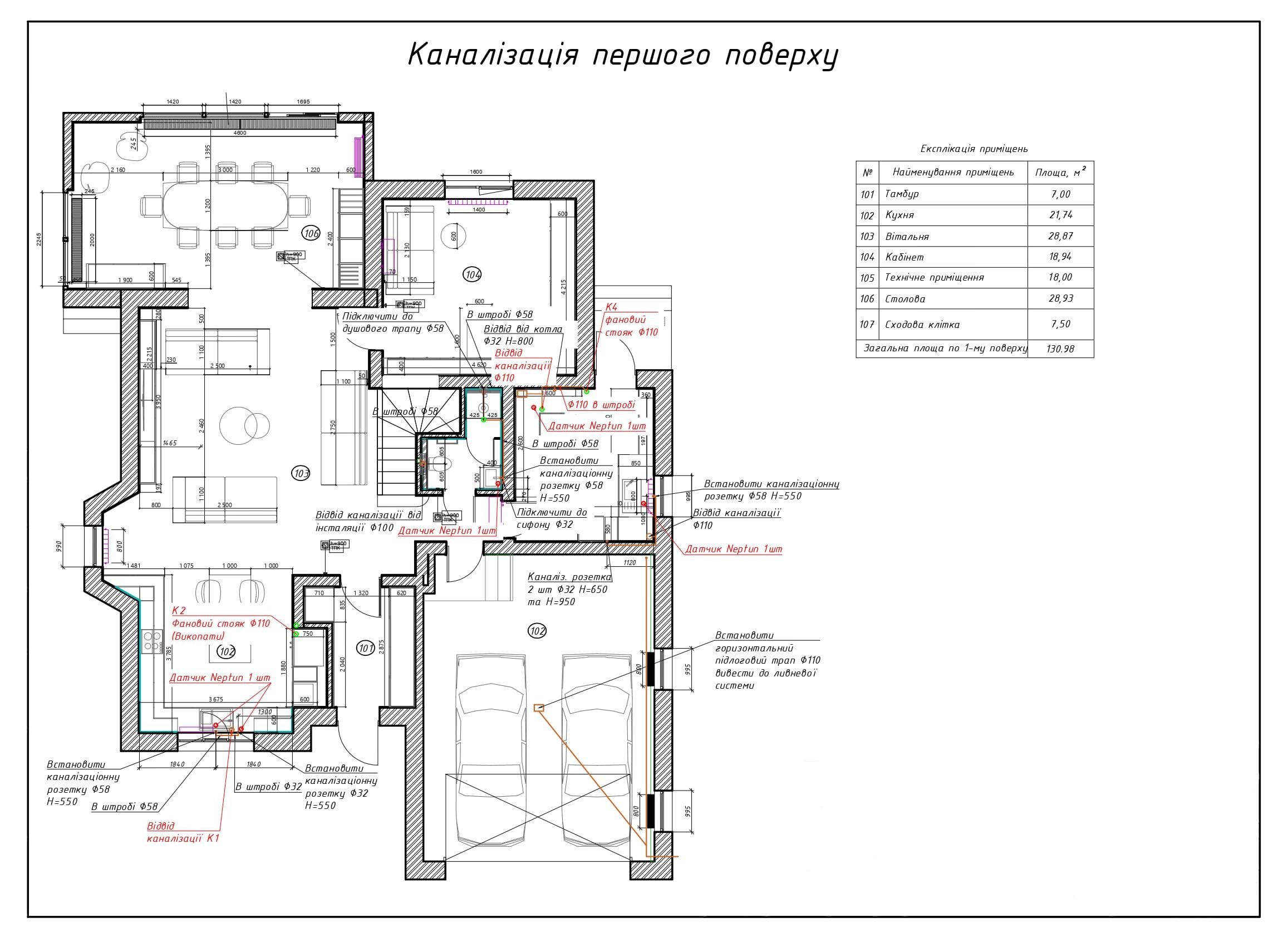 Проєктування каналізації на 1 поверсі приватного будинку