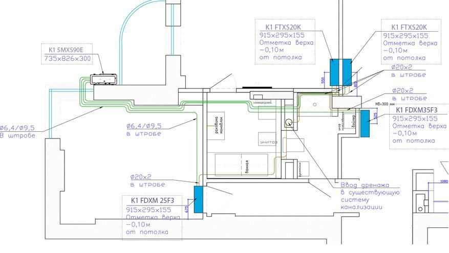 Мульти-сплит-система на базе канальных и настенных кондиционеров, большая квартира