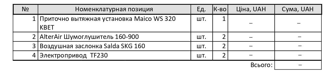 Комерційна пропозиція по обладнанню для системи вентиляції