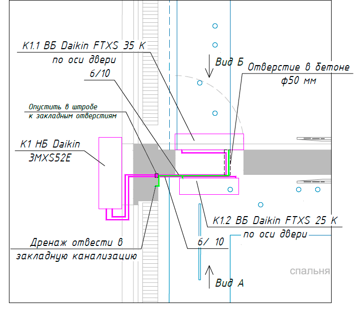 Схема розміщення мульти-спліт-системи на базі Daikin з 2 внутрішніми блоками