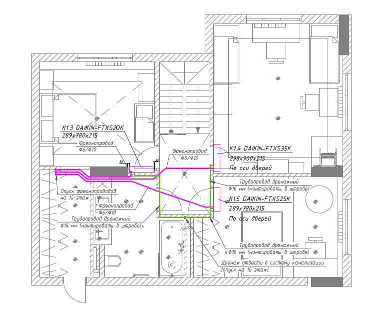 Схема розміщення мульти-спліт-системи на 1 поверсі приватного будинку