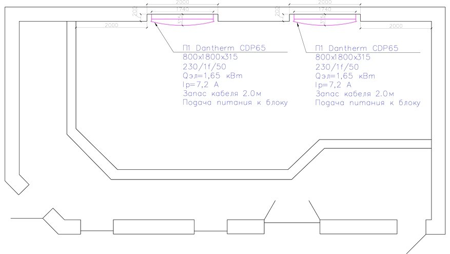 Система осушения на базе настенных осушителей воздуха, схема