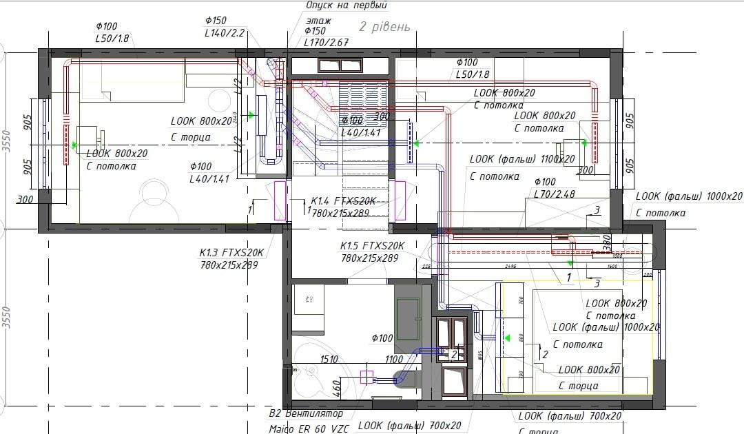 План системи вентиляції з рекуператором тепла в квартирі - 2 поверх