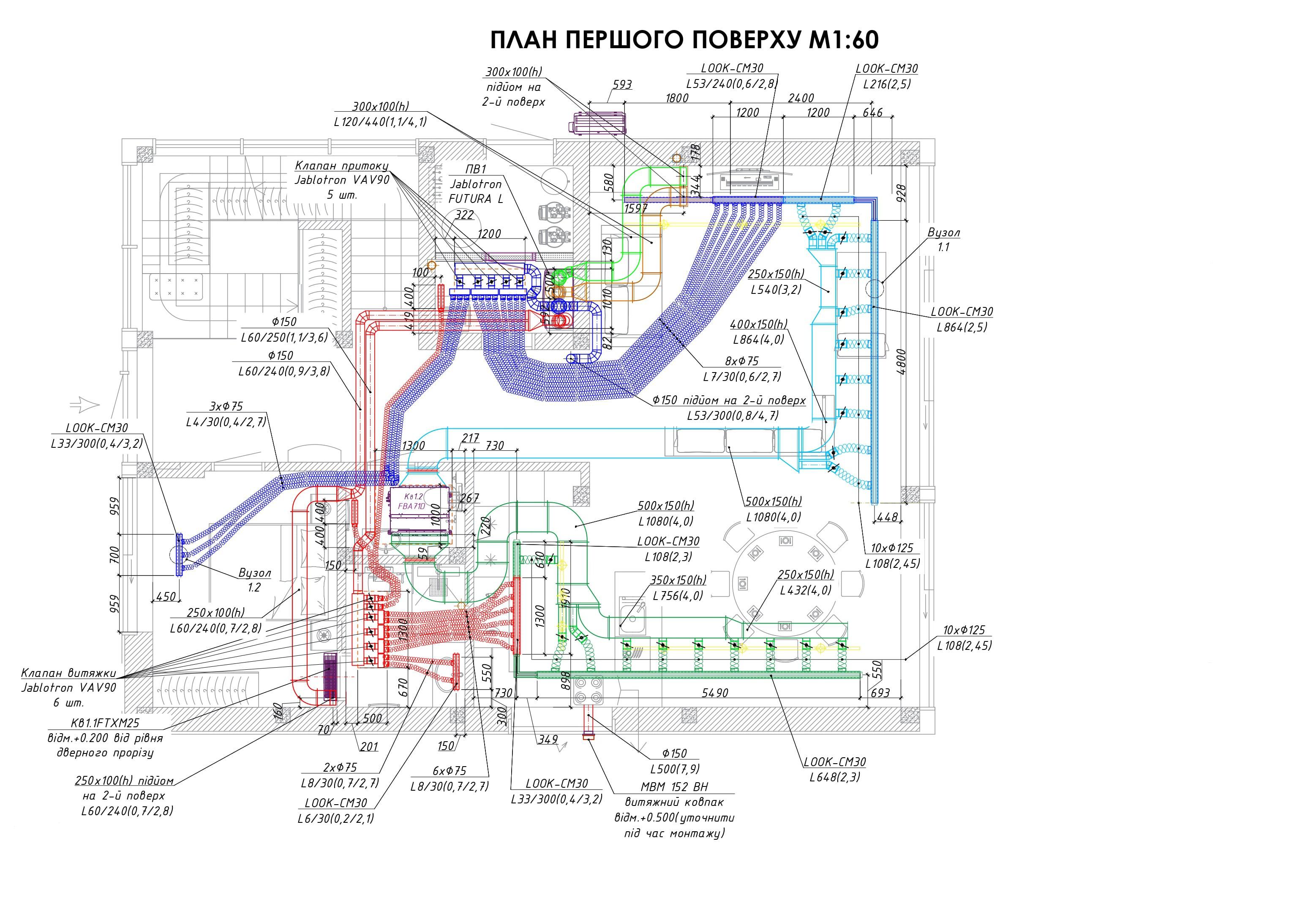 Пример чертежа системы вентиляции на премиум системе