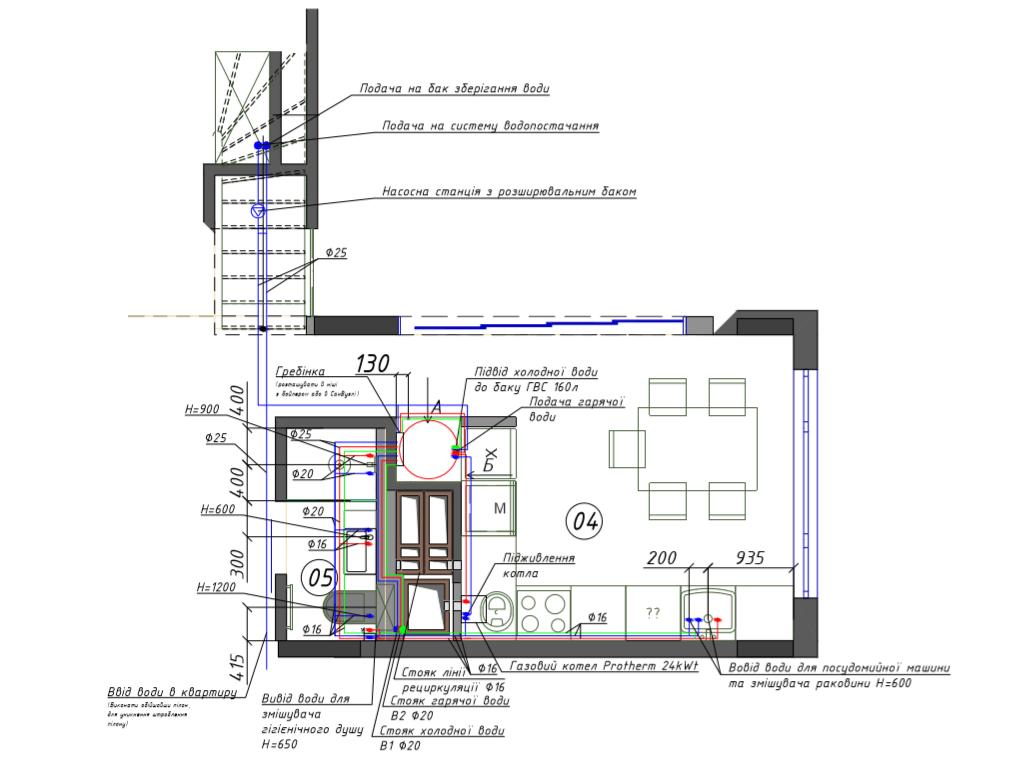 Креслення системи опалення та насосної станції