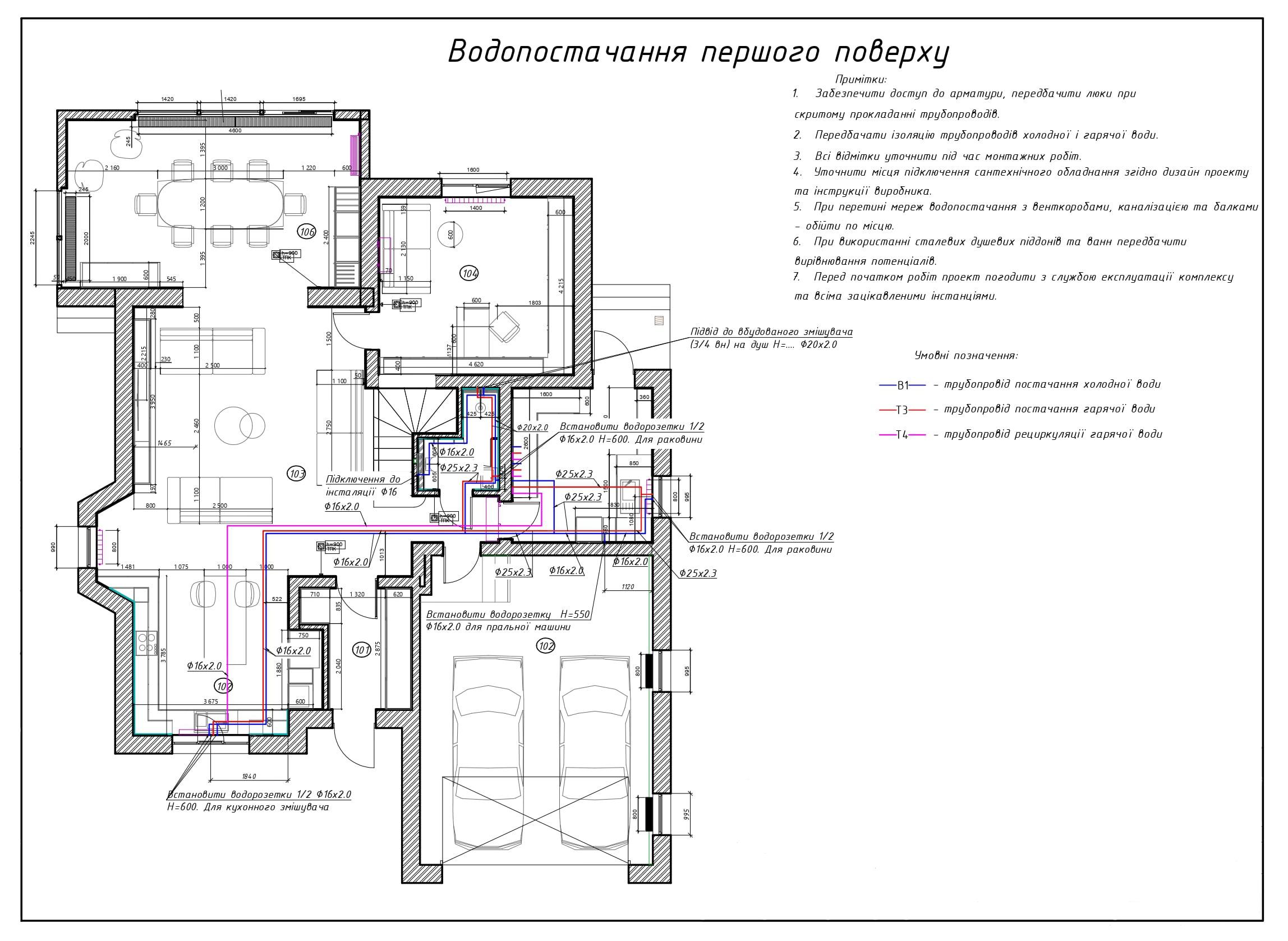 Приклад проєктування системи водопостачання на 1 поверсі приватного будинку