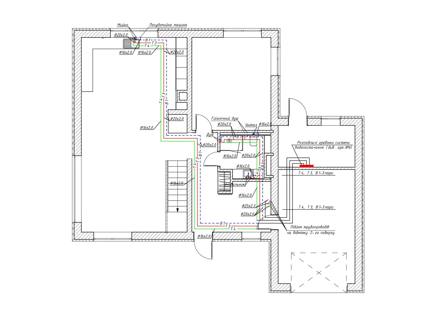 Схема системы водоснабжения, реализованная на 1 этаже частного дома