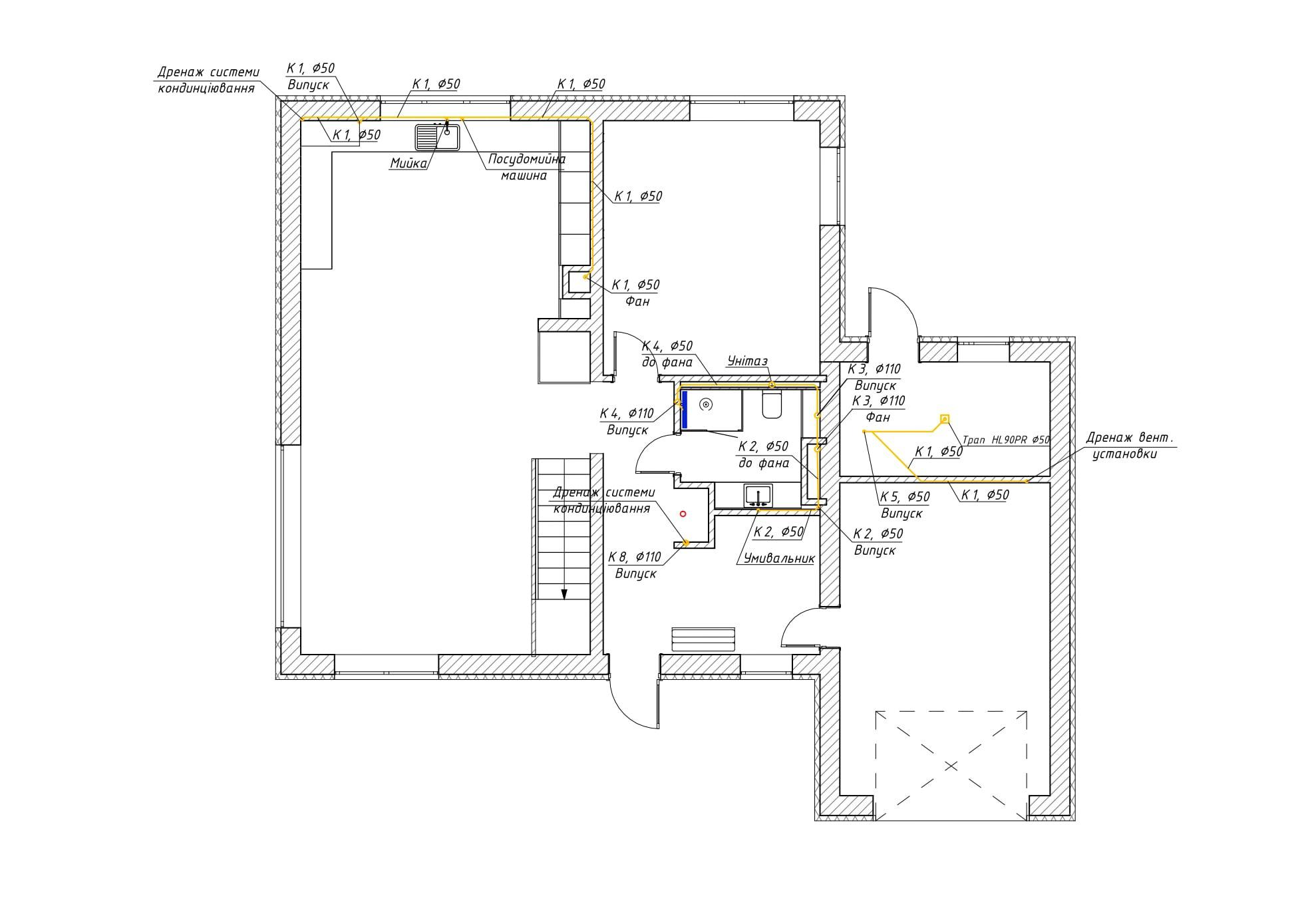 Проектирование канализации на 1 этаже частного дома
