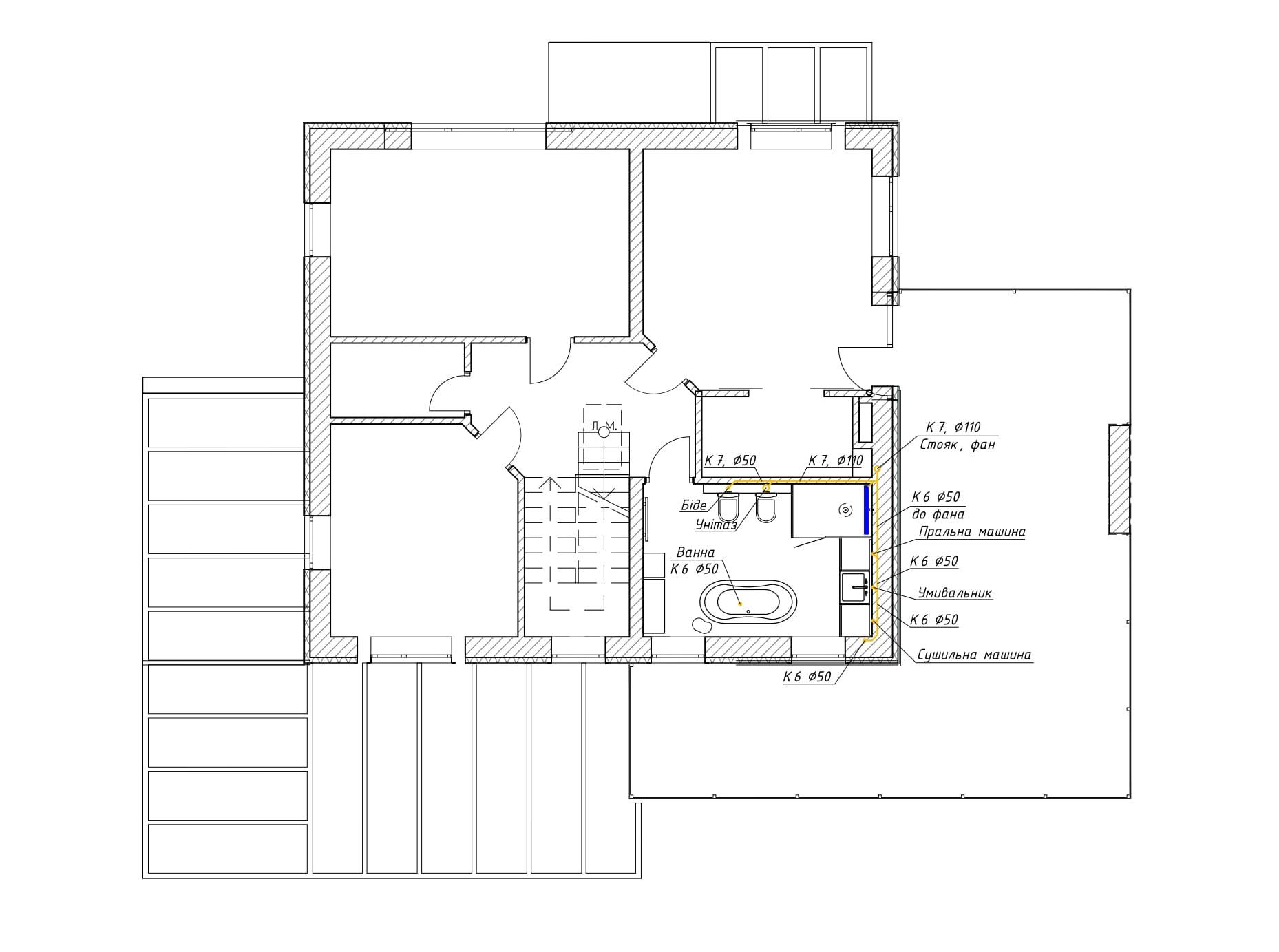 Проектирование канализации на 2 этаже частного дома