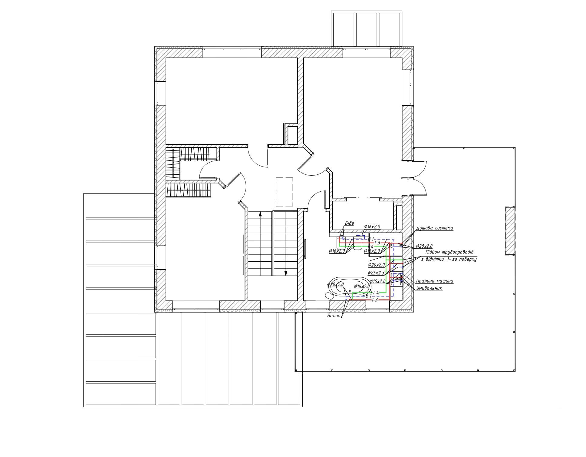 Схема системы водоснабжения, реализованной на 2 этаже дома