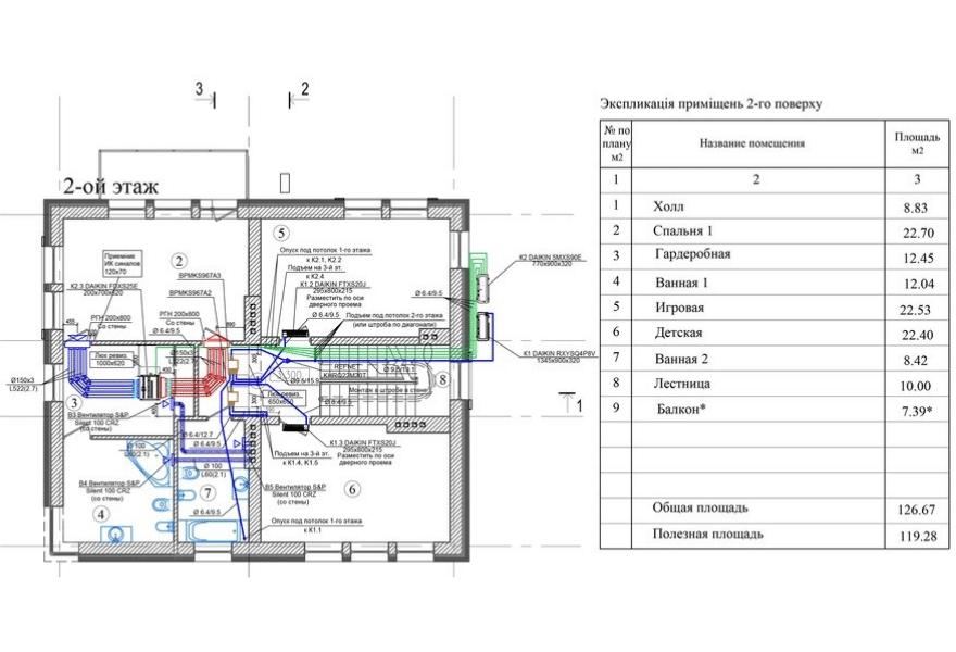 План кондиціонування і вентиляції будинку (2 поверх)