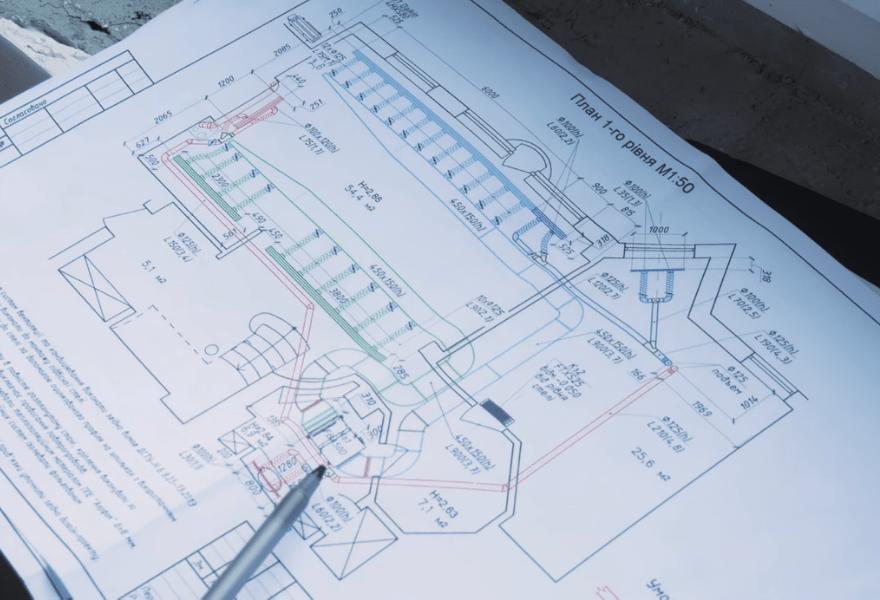 Чертеж проекта и размещение оборудования