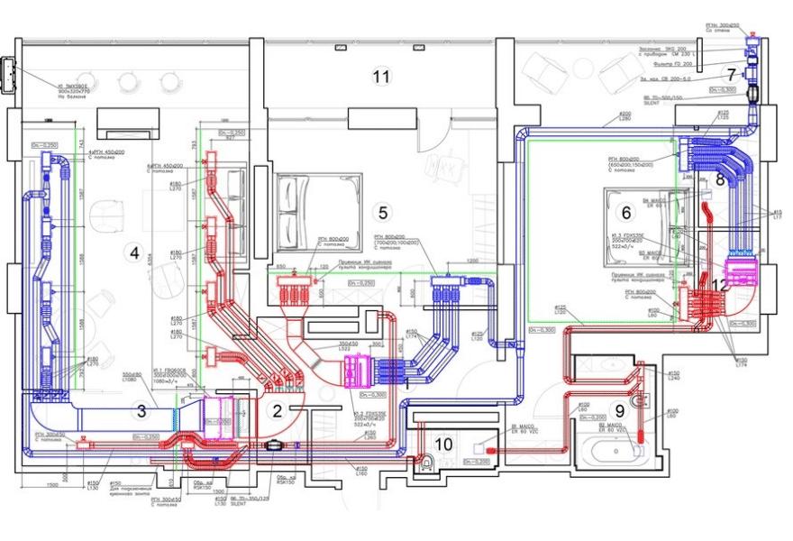 Чертеж - кондиционирование и вентиляция для квартиры