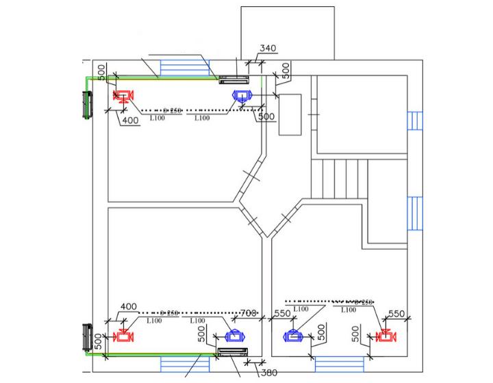 Розташування внутрішнього блоку Daikin FTX-JV і вентиляційні решітки VAM350