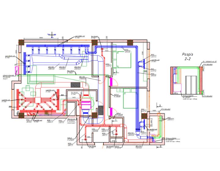 План квартиры со схемой систем вентиляции и кондиционирования