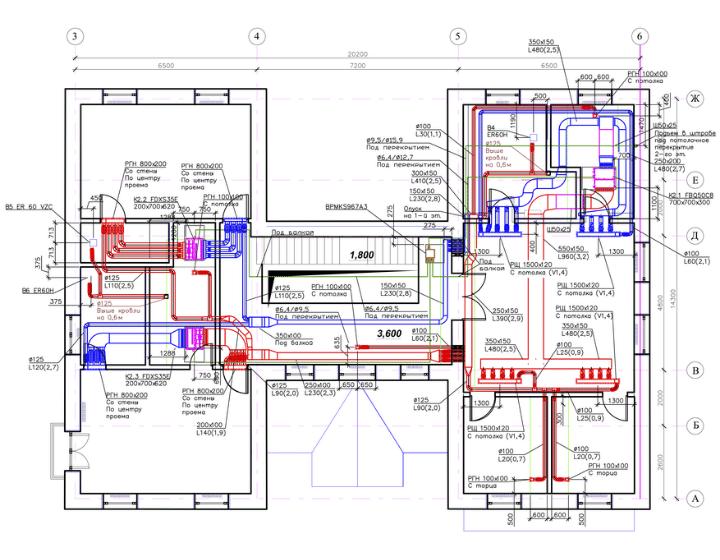 Креслення 2 - проєктування вентиляції, кондиціонування та зволоження повітря у будинку