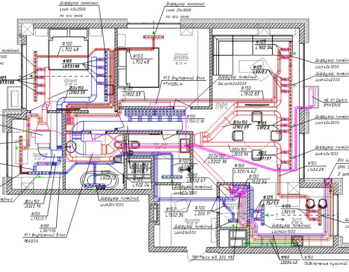 План квартири до схеми систем вентиляції та кондиціонування
