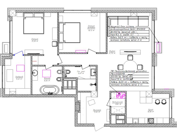 План квартири (схема вентиляції і кондиціонування)