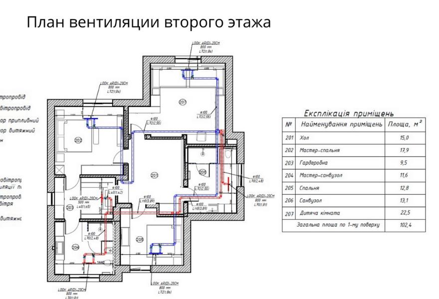 Чертеж системы вентиляции на втором этаже