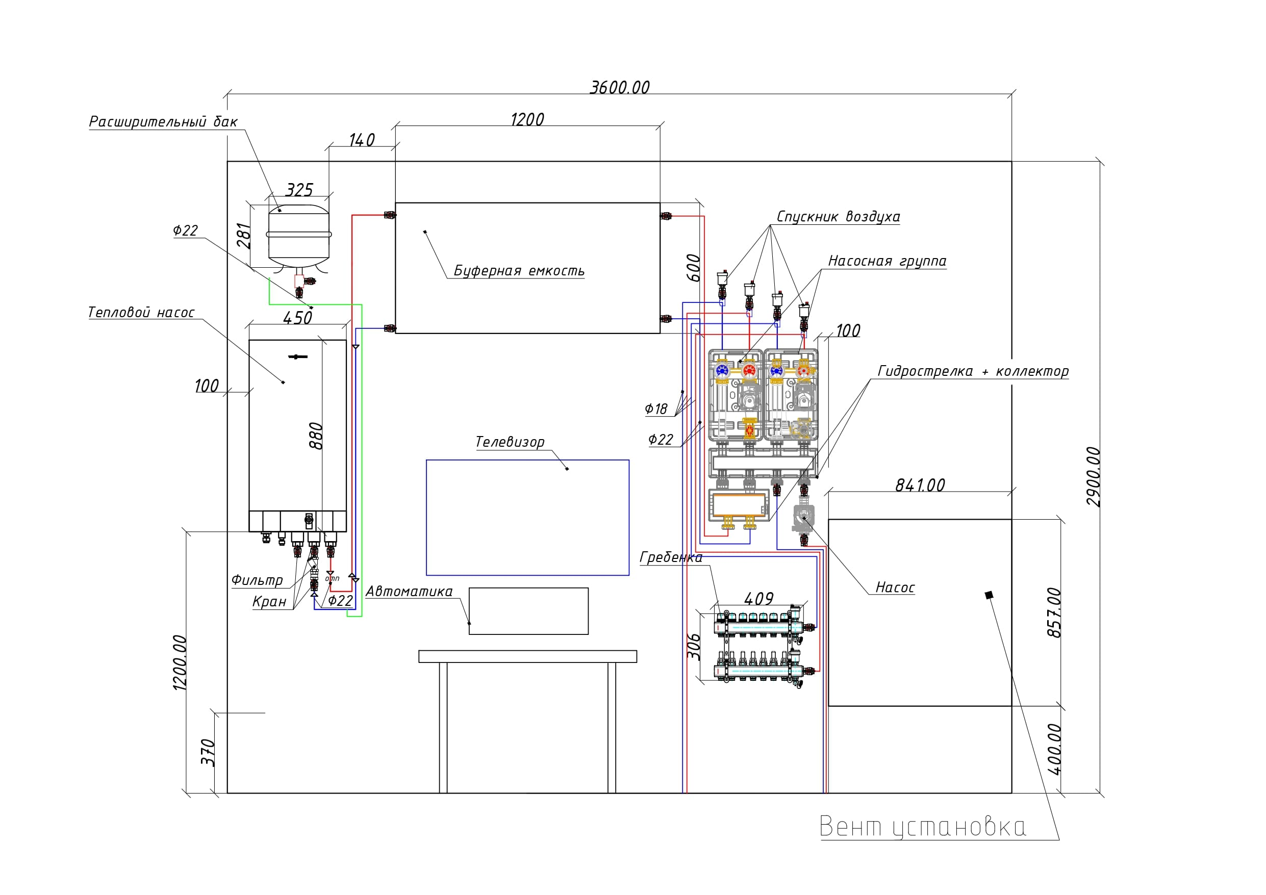 Схематическое изображение установленного оборудования