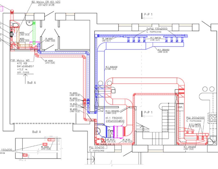Чертеж 1. Вентиляция и кондиционирование в коттедже (1 этаж)