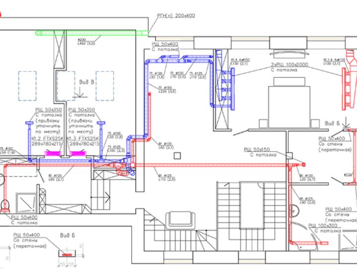 Чертеж 2. Вентиляция и кондиционирование в коттедже (2 этаж)