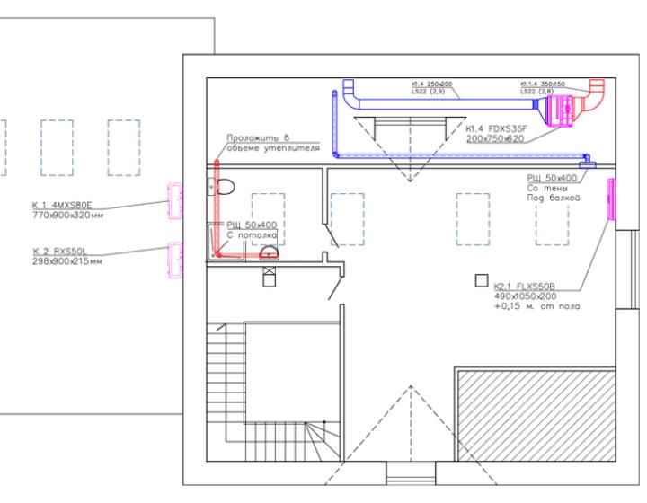 Чертеж 3. Вентиляция и кондиционирование в коттедже (3 этаж, мансарда)