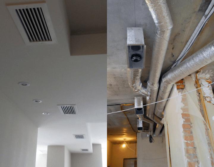 Воздуховоды для системы приточно-вытяжной вентиляции и прямоугольные решетки воздуховодов