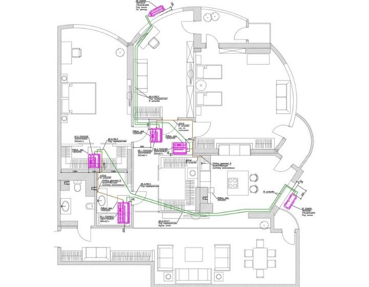 Схема мульти-сплит-системы кондиционирования квартиры от Альтер Эйр