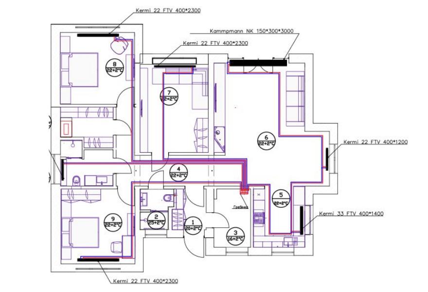 Схема размещения радиаторов отопления в доме