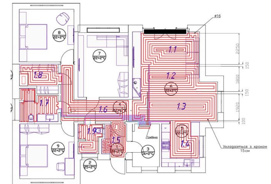 Схема размещения теплого пола в доме