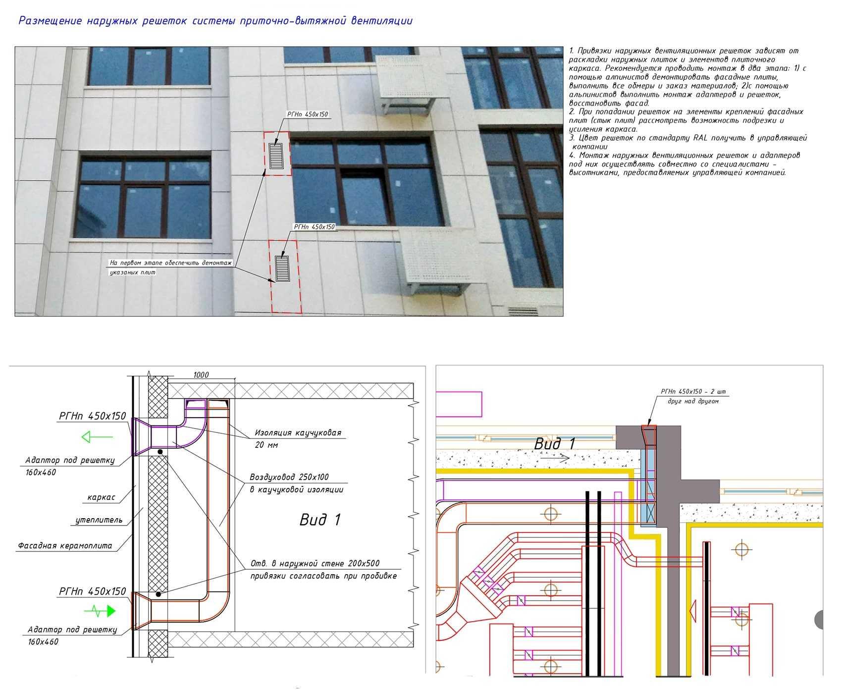 Размещение наружных решеток системы вентиляции