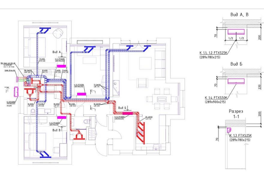Чертеж систем вентиляции и кондиционирования