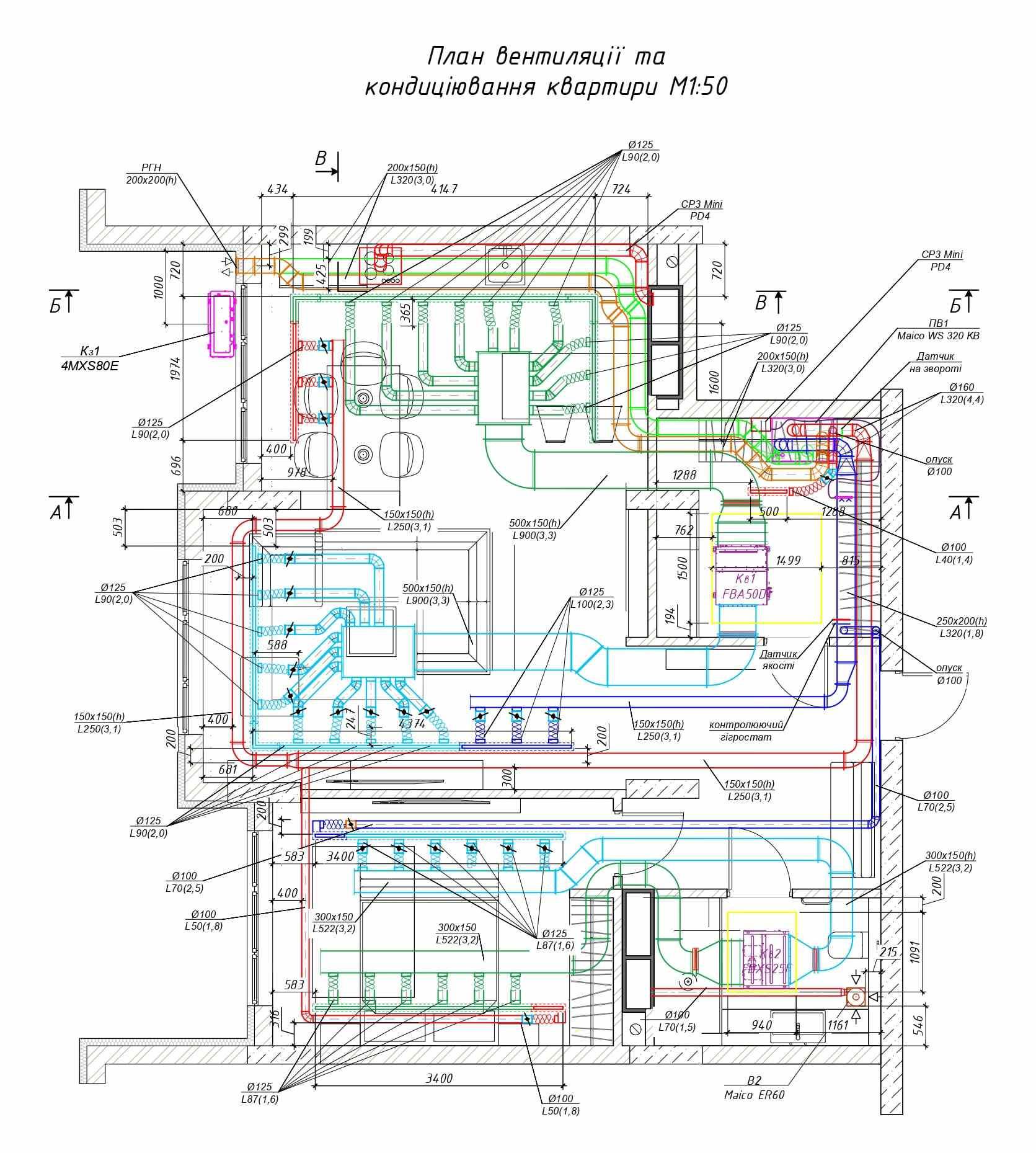 Чертеж инженерных систем для квартиры