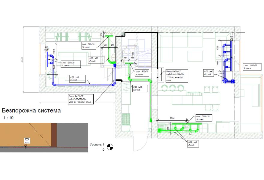 Система вентиляції та розположення фанкойлів (перший поверх)