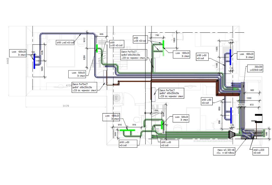 Система вентиляції та розположення кондиціонерів (другий поверх)