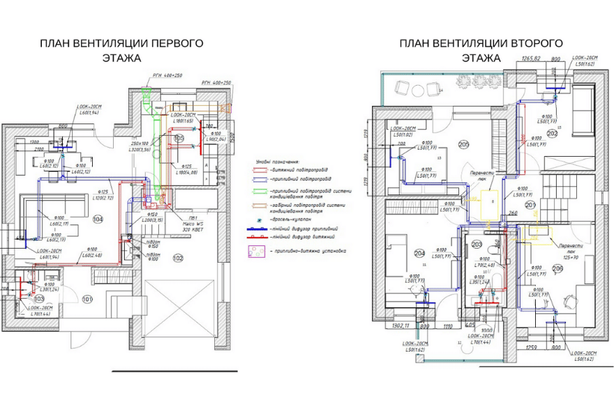 Чертеж вентиляции для дома (первый и второй этаж)
